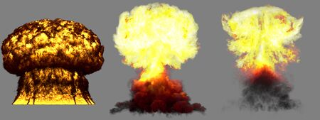 3 large very detailed different phases mushroom cloud explosion of hydrogen bomb with smoke and fire isolated on grey - 3D illustration of explosion