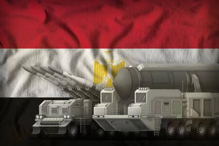 rocket forces on the Egypt flag background. Egypt rocket forces concept. 3d Illustration