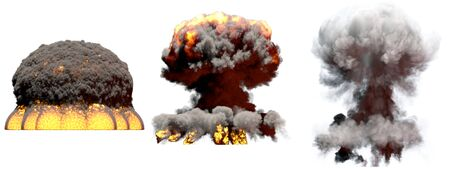 3 big different phases fire mushroom cloud explosion of nuclear bomb with smoke and flames isolated on white - 3D illustration of explosion