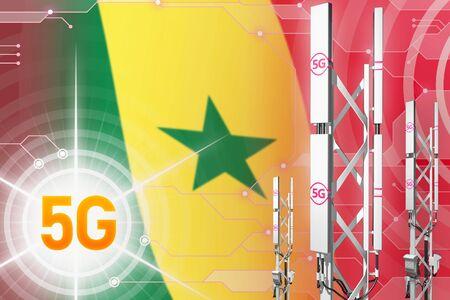 Senegal 5G network industrial illustration, huge cellular tower or mast on digital background with the flag - 3D Illustration Stock Illustration - 124850227