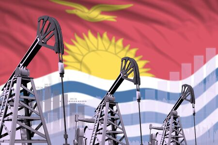 Kiribati oil and petrol industry concept, industrial illustration on Kiribati flag background. 3D Illustration