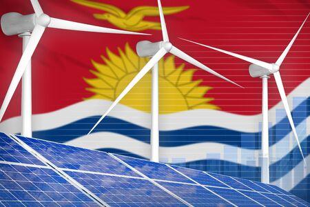 Kiribati solar and wind energy digital graph concept  - environmental energy industrial illustration. 3D Illustration Standard-Bild - 124850233