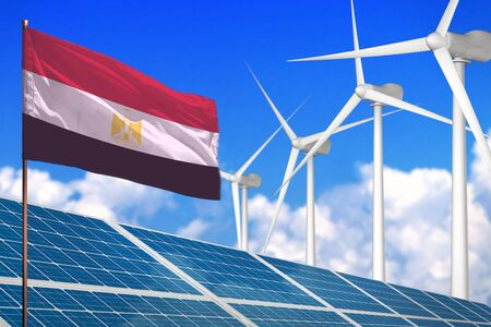 Egypt solar and wind energy, renewable energy concept with windmills - renewable energy against global warming - industrial illustration, 3D illustration Standard-Bild - 124850265