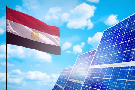 Egypt alternative energy, solar energy concept with flag - symbol of fight with global warming - industrial illustration, 3D illustration