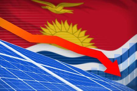 Kiribati solar energy power lowering chart, arrow down  - modern energy industrial illustration. 3D Illustration Stok Fotoğraf