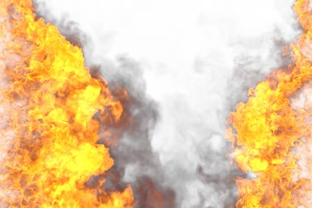Fire 3D illustration of blazing cosmic explosion frame isolated on white background - top and bottom are empty, fire lines from sides left and right