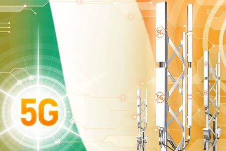 Ireland 5G network industrial illustration, big cellular tower or mast on digital background with the flag - 3D Illustration