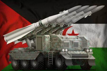 tactical short range ballistic missile with arctic camouflage on the Western Sahara flag background. 3d Illustration Banco de Imagens