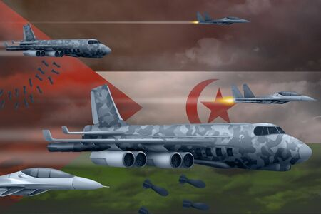 Western Sahara bomb air strike concept. Modern Western Sahara war airplanes bombing on flag background. 3d Illustration