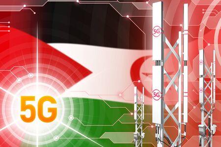 Western Sahara 5G network industrial illustration, big cellular tower or mast on digital background with the flag - 3D Illustration