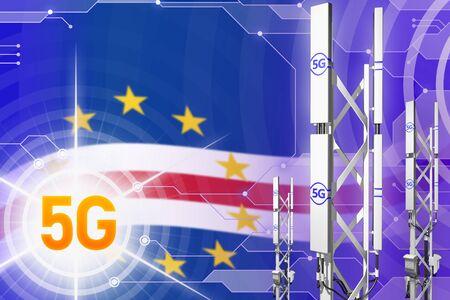 Cabo Verde 5G network industrial illustration, large cellular tower or mast on digital background with the flag - 3D Illustration Stock Photo