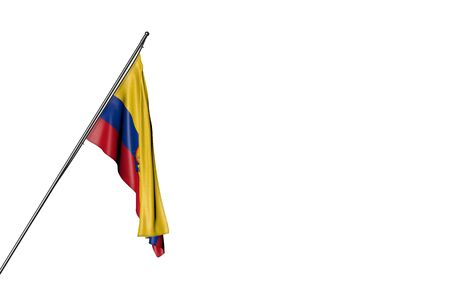 nice anthem day flag 3d illustration  - Ecuador flag hanging on a in corner pole isolated on white