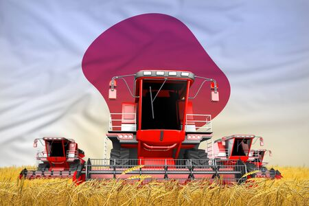 four bright red combine harvesters on grain field with flag background, Japan agriculture concept - industrial 3D illustration