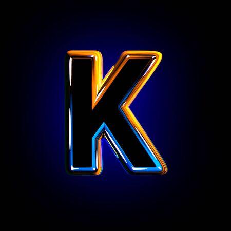 Dark glossy glass alphabet - letter K isolated on dark background, 3D illustration of symbols