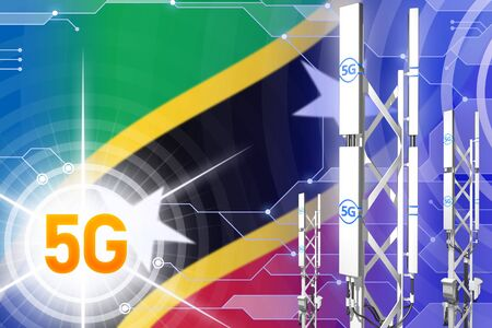 Saint Kitts and Nevis 5G network industrial illustration, big cellular tower or mast on hi-tech background with the flag - 3D Illustration