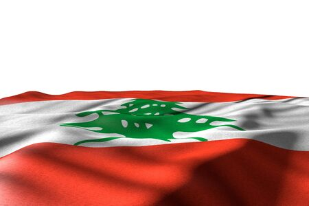 cute mockup image of Lebanon flag lie with perspective view isolated on white with space for content - any holiday flag 3d illustration