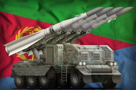 tactical short range ballistic missile with arctic camouflage on the Eritrea flag background. 3d Illustration