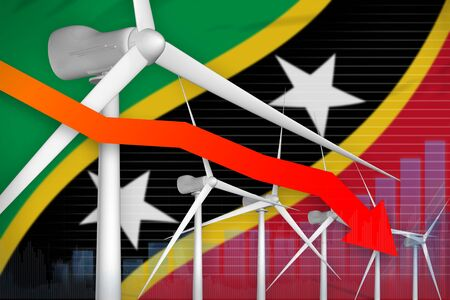 Saint Kitts and Nevis wind energy power lowering chart, arrow down  - green energy industrial illustration. 3D Illustration