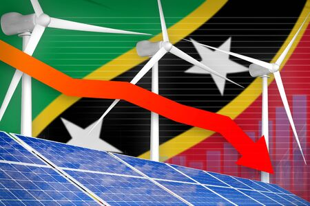 Saint Kitts and Nevis solar and wind energy lowering chart, arrow down  - modern energy industrial illustration. 3D Illustration