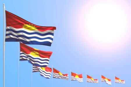 wonderful many Kiribati flags placed diagonal with bokeh and empty space for your content - any holiday flag 3d illustration