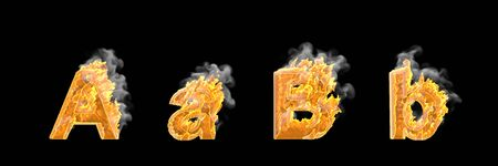 Fire and dark smoke capital (uppercase) and lowercase letters A and B isolated on white color, fantasy magic fire concept font - 3D illustration of symbols