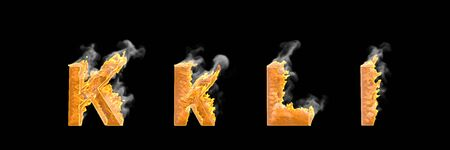 Fantasy magic creative alphabet, glowing fire and smoke capital (uppercase) and lowercase letters K and L isolated on white color - 3D illustration of symbols