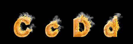 Fantasy magic design alphabet, flaming fire and smoke capital (uppercase) and lowercase letters C and D isolated on white color - 3D illustration of symbols Foto de archivo
