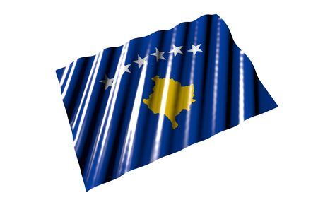 nice anthem day flag 3d illustration  - glossy flag of Kosovo with big folds lay isolated on white, perspective view