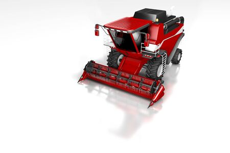 huge rendered red wheat harvester front top view with reflection on white, mockup with place for your text - industrial 3D illustration Stock Photo