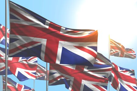 cute many United Kingdom (UK) flags are waving on blue sky background - any occasion flag 3d illustration