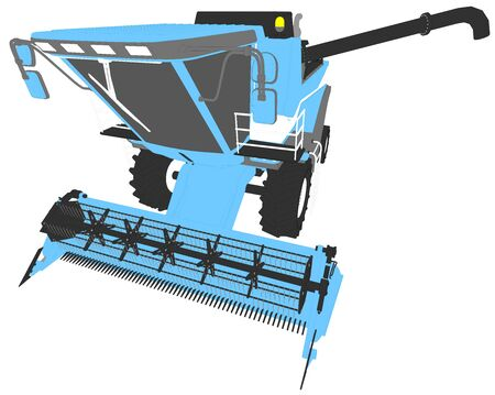 industrial 3D illustration of cartoon colored 3D model of grain harvester with grain pipe isolated, rendered with wide lens effect Stock fotó