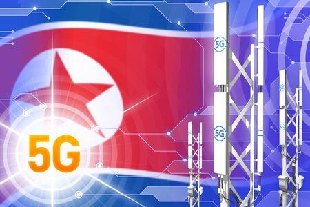 Democratic Peoples Republic of Korea (North Korea) 5G network industrial illustration, huge cellular tower or mast on hi-tech background with the flag - 3D Illustration