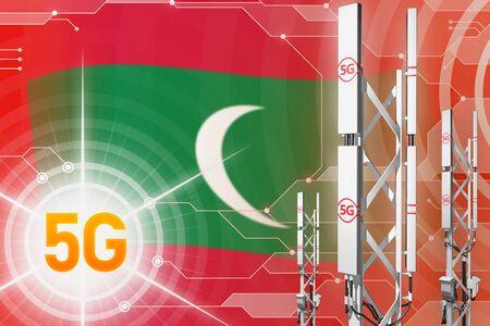 Maldives 5G network industrial illustration, large cellular tower or mast on digital background with the flag - 3D Illustration Stockfoto - 126210749