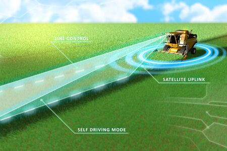Self driving, unmanned, autonomous rye harvester working in field - harvesting vehicle future concept - industrial 3D illustration