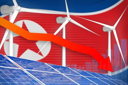 Democratic Peoples Republic of Korea (North Korea) solar and wind energy lowering chart, arrow down  - green energy industrial illustration. 3D Illustration