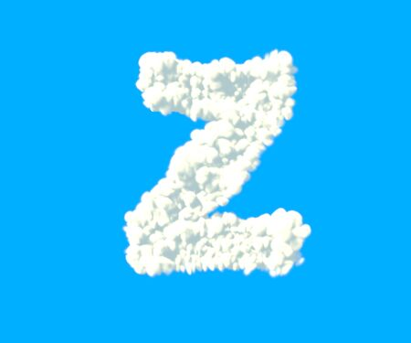 letter Z made of dense white clouds on blue background, cloud font - 3D illustration of symbols