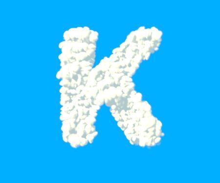 letter K made of dense white clouds on blue background, cloud font - 3D illustration of symbols
