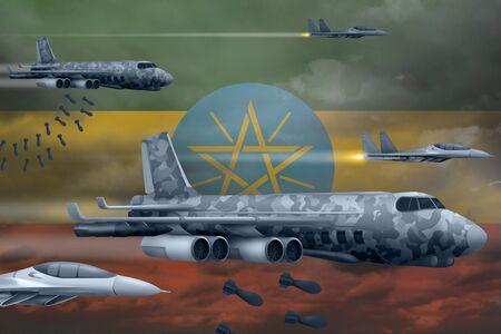 Ethiopia bomb air strike concept. Modern Ethiopia war airplanes bombing on flag background. 3d Illustration