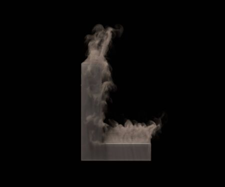 letter L of heavy smoke or fog isolated on black background, artistic halloween font - 3D illustration of symbols Foto de archivo