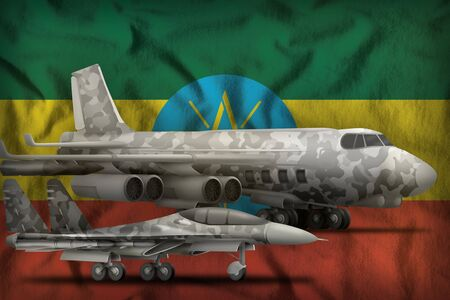 air forces with grey camouflage on the Ethiopia flag background. Ethiopia air forces concept. 3d Illustration