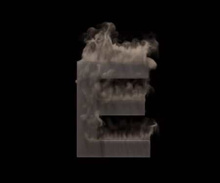 letter E of heavy smoke or fog isolated on black background, artistic halloween font - 3D illustration of symbols