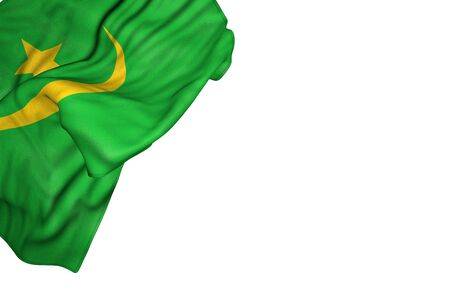 beautiful Mauritania flag with big folds lie in top left corner isolated on white - any celebration flag 3d illustration Stock Photo