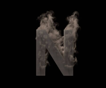letter N of dark smoke or fog isolated on black background, artistic halloween font - 3D illustration of symbols Foto de archivo