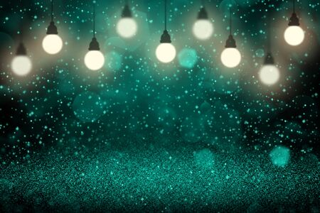 light blue fantastic shiny abstract background light bulbs with sparks fly defocused bokeh - holiday mockup texture with blank space for your content
