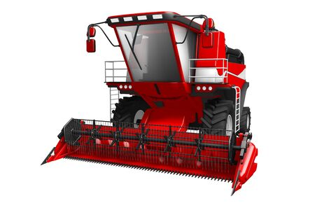 large beautiful red rye combine harvester front view isolated on white - industrial 3D illustration