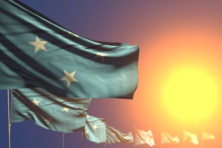 pretty anthem day flag 3d illustration  - many Micronesia flags on sunset placed diagonal with bokeh and space for your content
