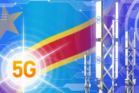 Democratic Republic of Congo 5G network industrial illustration, big cellular tower or mast on modern background with the flag - 3D Illustration