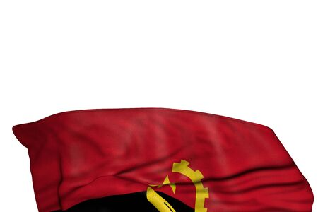 wonderful holiday flag 3d illustration  - Angola flag with big folds lie in the bottom isolated on white