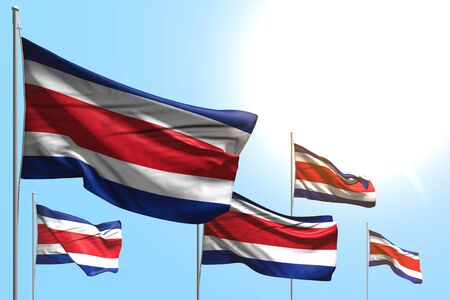 cute anthem day flag 3d illustration  - 5 flags of Costa Rica are waving on blue sky background Stok Fotoğraf