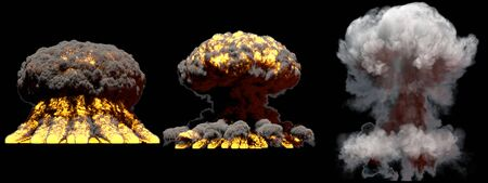 3 huge different phases fire mushroom cloud explosion of atom bomb with smoke and flames isolated on black background - 3D illustration of explosion Banque d'images